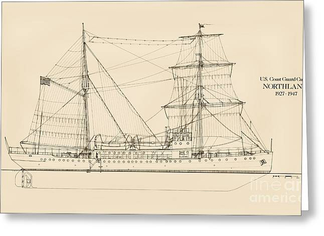 Tall Ships Greeting Cards - U. S. Coast Guard Cutter Northland Greeting Card by Jerry McElroy - Public Domain Image