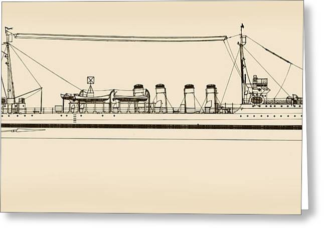 Uscg Drawings Greeting Cards - U. S. Coast Guard Cutter Porter Greeting Card by Jerry McElroy - Public Domain Image