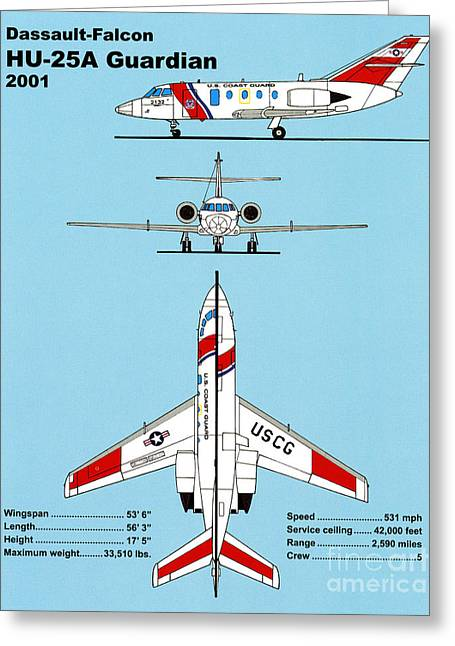 Search Drawings Greeting Cards - Coast Guard Dassault-Falcon Greeting Card by Jerry McElroy - Public Domain Image