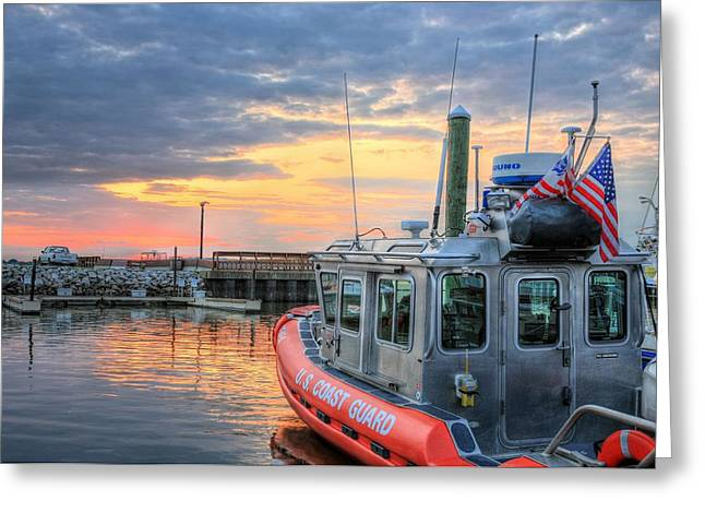 Homeland Greeting Cards - US Coast Guard Defender Class Boat Greeting Card by JC Findley
