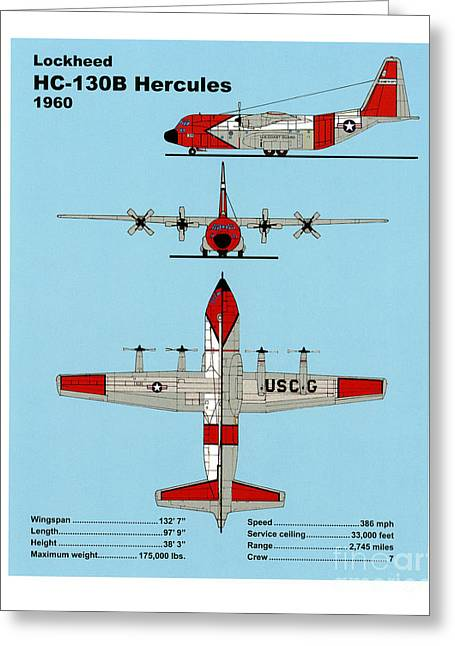 U.s. Coast Guard Greeting Cards - Coast Guard HC-130 B Hercules Greeting Card by Jerry McElroy - Public Domain Image