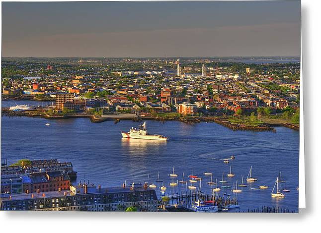 Sailboats In Harbor Greeting Cards - US Coast Guard on Boston Harbor Greeting Card by Joann Vitali