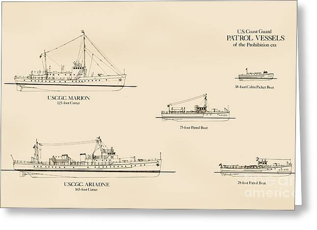 Search Drawings Greeting Cards - U. S. Coast Guard Patrol Boats of the Prohibition Era Greeting Card by Jerry McElroy - Public Domain Image