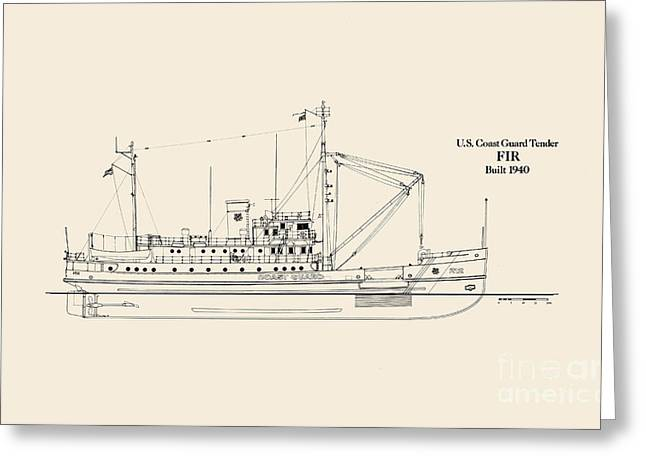 Uscg Drawings Greeting Cards - U S  Coast Guard Tender Fir Greeting Card by Jerry McElroy - Public Domain Image