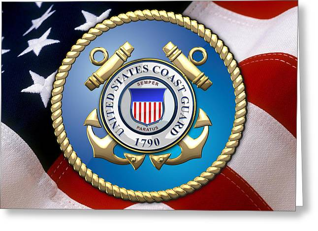 U S Flag Digital Art Greeting Cards - U.S. Coast Guard - USCG Emblem over American Flag Greeting Card by Serge Averbukh