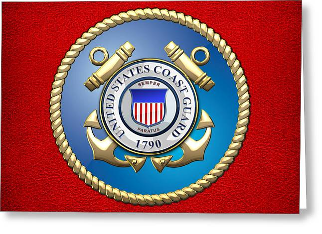 Patch Greeting Cards - U.S. Coast Guard - USCG Emblem Greeting Card by Serge Averbukh