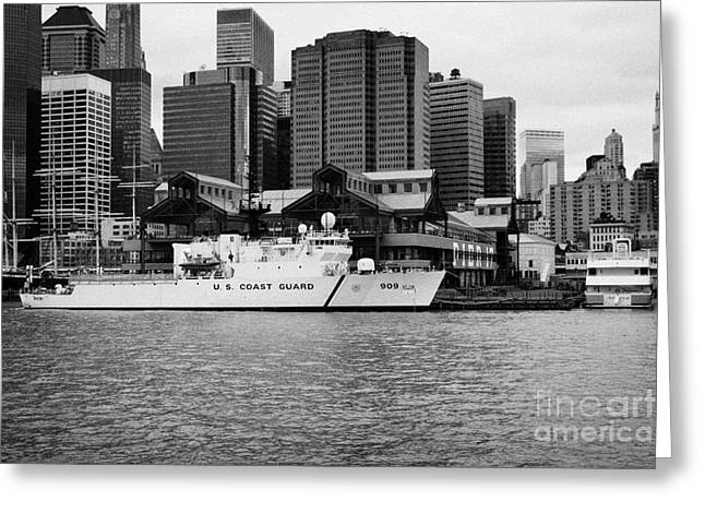 Manhatan Greeting Cards - US coastguard cutter vessel ship berthed in lower manhattan on the east river new york city Greeting Card by Joe Fox