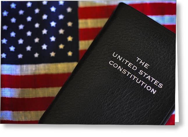 God Bless America Greeting Cards - U.S. Constitution and Flag Greeting Card by Ron White