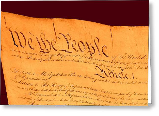 Marbel Greeting Cards - US Constitution Closest Closeup Red Brown Background Larger Sizes Greeting Card by L Brown