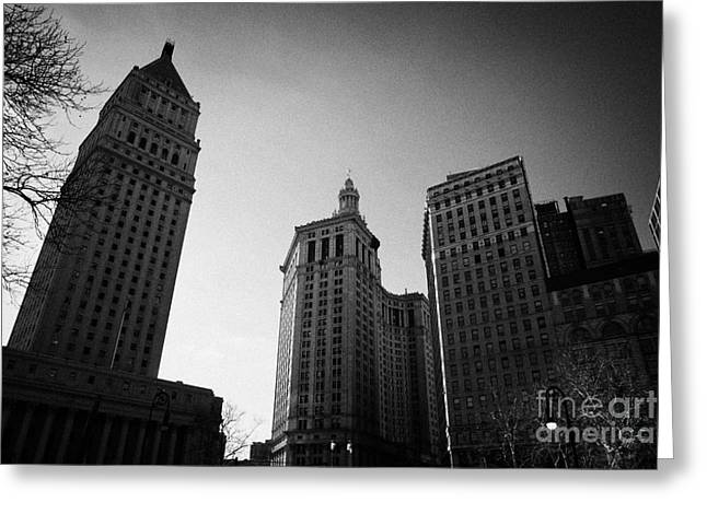 Manhatan Greeting Cards - U.S. courthouse civic center and municipal building centre street foley square new york city Greeting Card by Joe Fox