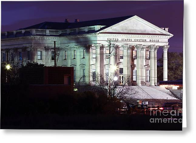 Old School House Greeting Cards - US Customs House Greeting Card by John Rizzuto