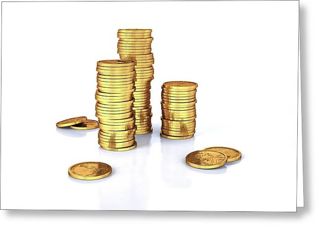 Us Dollar Coins Greeting Card by Leonello Calvetti