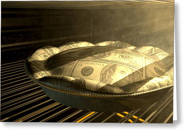 Food Digital Greeting Cards - US Dollar Money Pie Baking In The Oven Greeting Card by Allan Swart