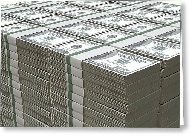 Dollar Greeting Cards - US Dollar Notes Pile Greeting Card by Allan Swart