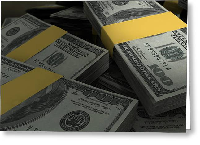 Stack Digital Greeting Cards - US Dollar Notes Scattered Pile Closeup Greeting Card by Allan Swart