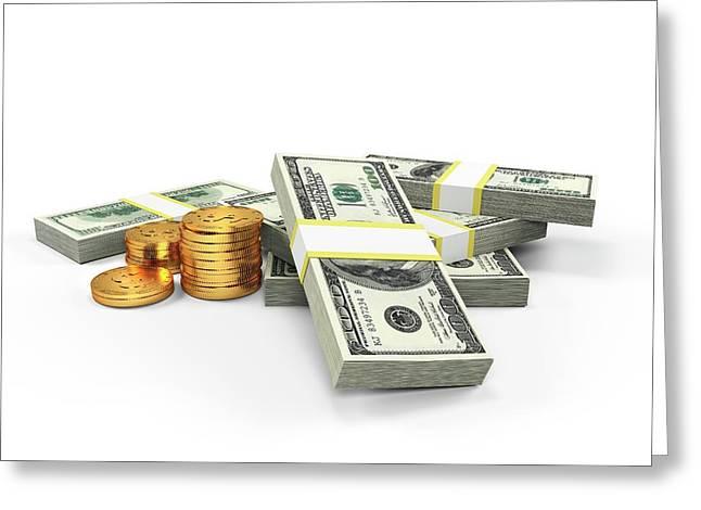 Us Dollars And Golden Coins Greeting Card by Sebastian Kaulitzki