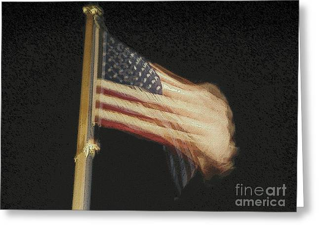 Independence Day Mixed Media Greeting Cards - US Flag Greeting Card by Celestial Images