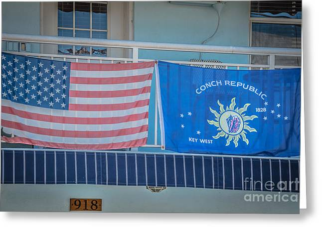 Patriot Photography Greeting Cards - US Flag and Conch Republic Flag Key West - HDR Style Greeting Card by Ian Monk