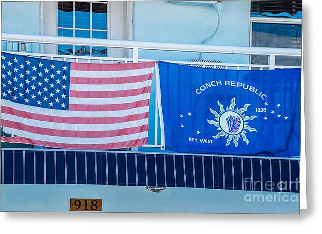 Us Flag And Conch Republic Flag Key West  Greeting Card by Ian Monk