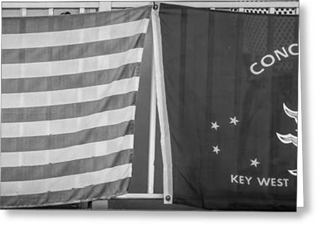 1828 Greeting Cards - US Flag and Conch Republic Flag Key West  - Panoramic - Black and White Greeting Card by Ian Monk