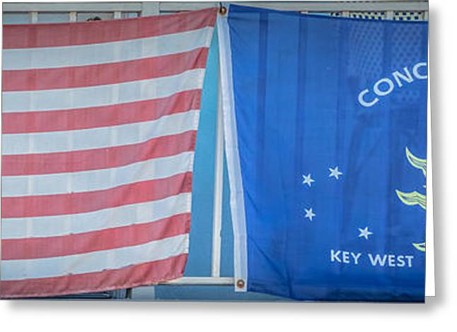 Coloured Greeting Cards - US Flag and Conch Republic Flag Key West  - Panoramic - HDR Style Greeting Card by Ian Monk