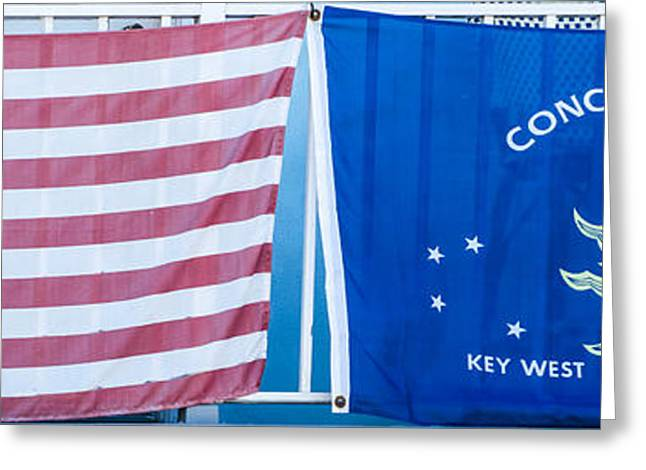 Liberal Greeting Cards - US Flag and Conch Republic Flag Key West  - Panoramic Greeting Card by Ian Monk