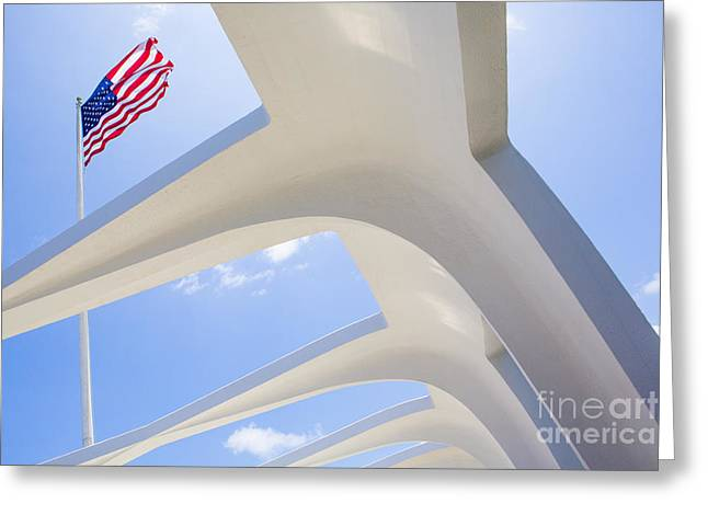 Pearl Harbor Greeting Cards - U.S.  Flag at the USS Arizona Memorial Greeting Card by Diane Diederich