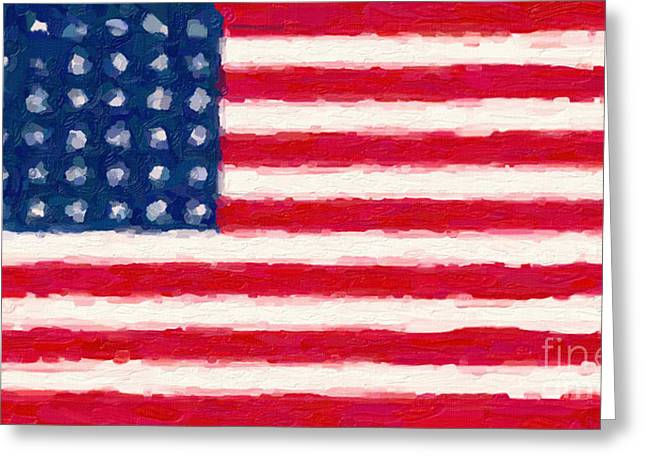 Patriotism Paintings Greeting Cards - Flag of the Brave Greeting Card by Celestial Images