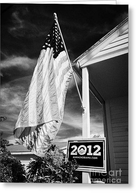 2012 Presidential Race Greeting Cards - Us Flag Flying And Barack Obama 2012 Us Presidential Election Poster Florida Usa Greeting Card by Joe Fox