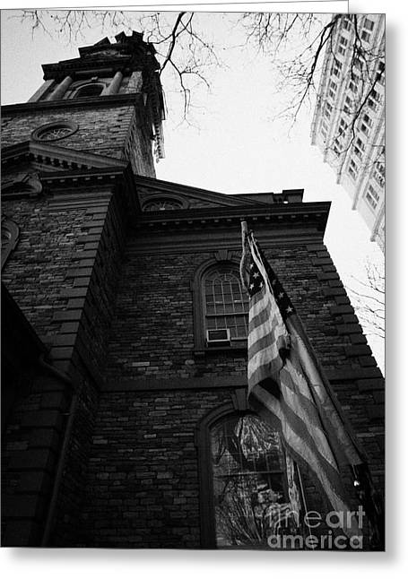 Wtc 11 Greeting Cards - US flag flying outside St Pauls Chapel ground zero new york city Greeting Card by Joe Fox