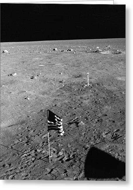 Us Flag On The Moon Greeting Card by Underwood Archives