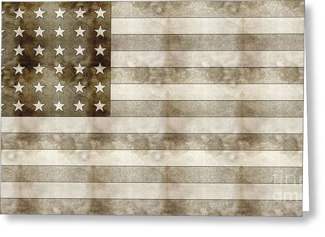 Flag Day Drawings Greeting Cards - Us Flag Sketch Greeting Card by Celestial Images