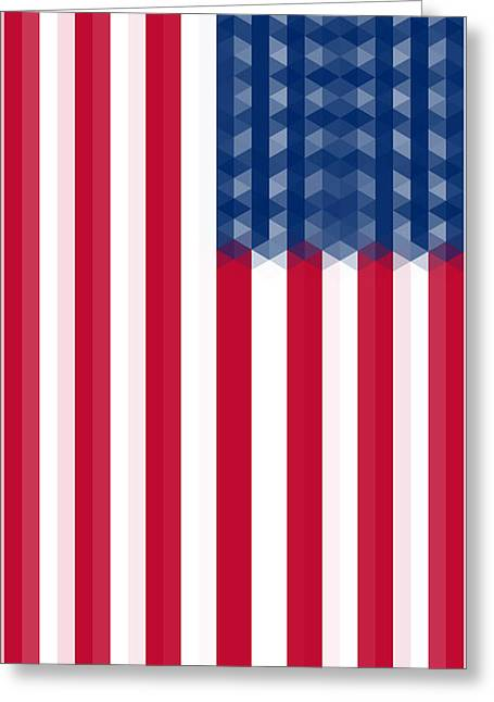 Declaration Of Independence Mixed Media Greeting Cards - US  Flag Vertical Greeting Card by Celestial Images