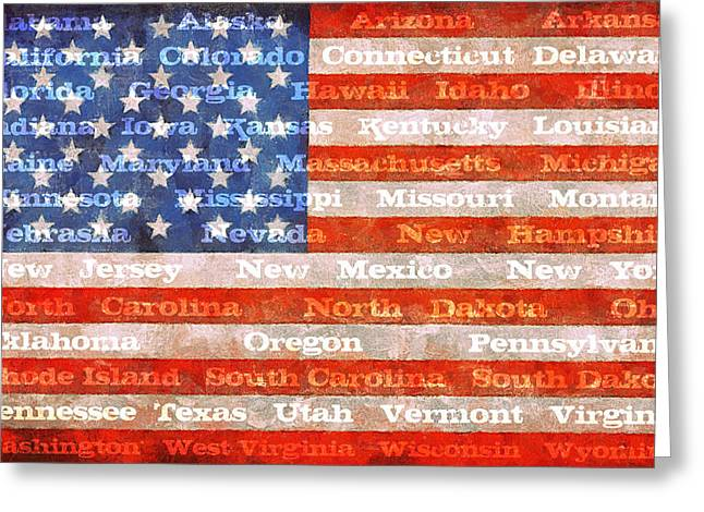 Flag Of Usa Greeting Cards - US Flag with States Greeting Card by Michelle Calkins