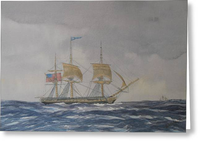 US Frigate Gives Chase In Stormy Weather Greeting Card by Elaine Jones