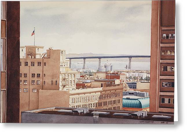 US Grant Hotel in San Diego Greeting Card by Mary Helmreich