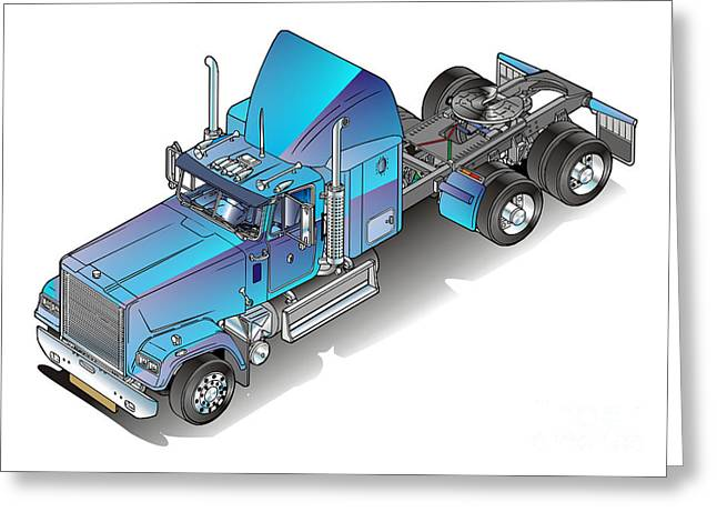 Truck Drawings Greeting Cards - US heavy truck Greeting Card by Christian Simonian