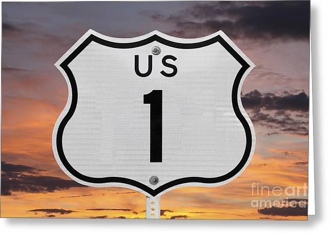 Coast Highway One Greeting Cards - US Highway One Sign with Sunrise Sky Greeting Card by Trekkerimages Photography