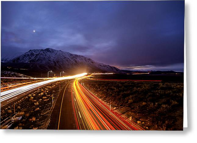 Winter Travel Greeting Cards - U.S. Hwy. 395 Light Trails Greeting Card by Cat Connor