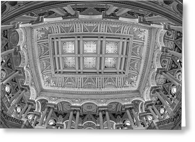 Library Of Congress Greeting Cards - US Library Of Congress BW Greeting Card by Susan Candelario
