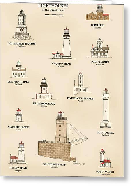 Bright Drawings Greeting Cards - Lighthouses of the West Coast Greeting Card by Jerry McElroy - Public Domain Image
