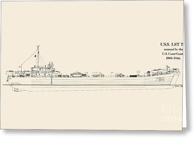World War 2 Drawings Greeting Cards - U S  L S T 785 Greeting Card by Jerry McElroy - Public Domain Image