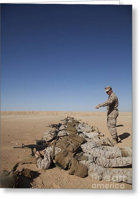Officers Quarters Greeting Cards - U.s. Marine Corps Officer Directs Greeting Card by Stocktrek Images