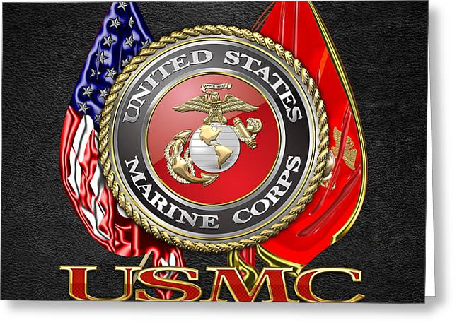 Best Sellers -  - Patch Greeting Cards - U.S. Marine Corps USMC Emblem on Black Greeting Card by Serge Averbukh