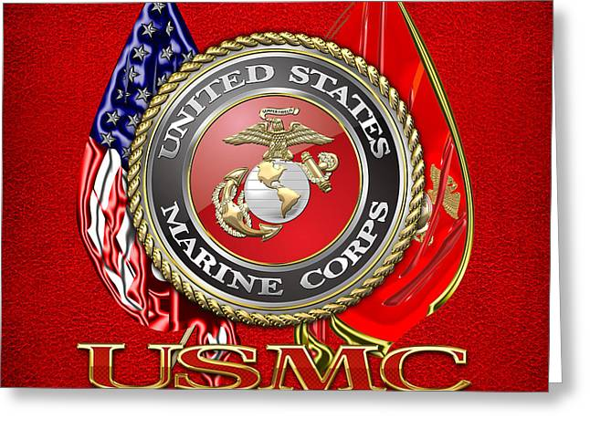 Patch Greeting Cards - U.S. Marine Corps USMC Emblem on Red Greeting Card by Serge Averbukh