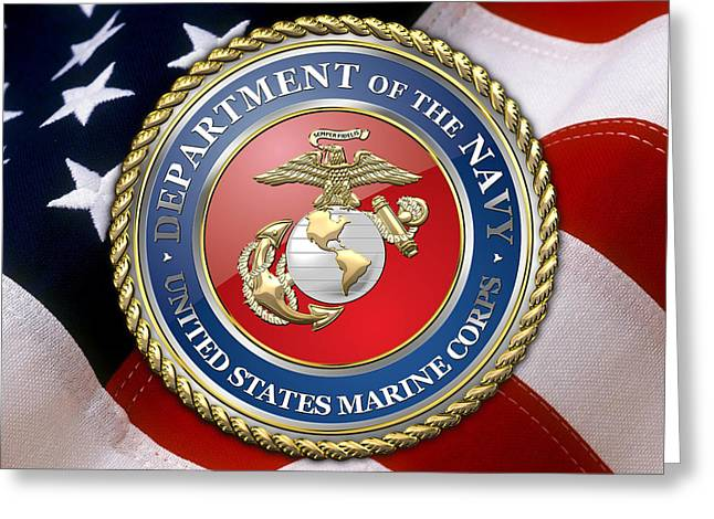 Patch Greeting Cards - U.S. Marine Corps - USMC Emblem over American Flag. Greeting Card by Serge Averbukh