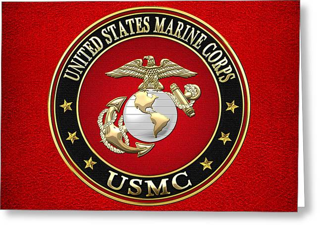 Militaria Greeting Cards - U. S. Marine Corps - U S M C Emblem Special Edition Greeting Card by Serge Averbukh