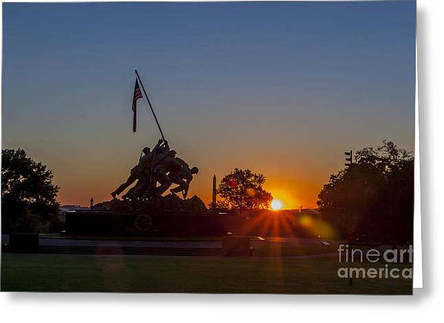 New Britain Greeting Cards - US Marine Corps War Memorial Greeting Card by Darcy Michaelchuk