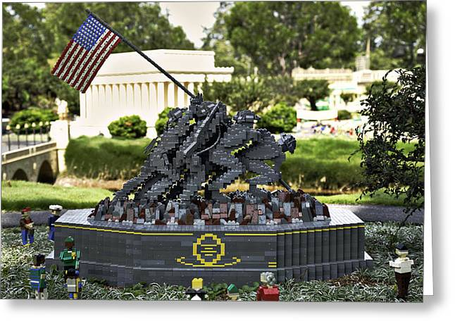Lego Greeting Cards - US Marine Corps War Memorial Greeting Card by Ricky Barnard