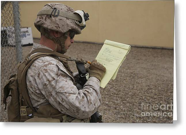 Military Base Greeting Cards - U.s. Marine Evaluates Navy Corpsmen Greeting Card by Stocktrek Images